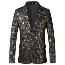 Stage Mens Suits Tuxedos Golden Tiger Print Business Casual Blazer Jacket Fashion Wedding For Men Slim Fit