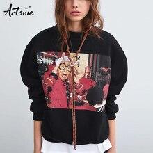 Artsnie Streetwear Character Black Women Sweatshirt Spring 2019 O Neck Long Sleeve Pullover Oversized Hoodie Casual Sweatshirts