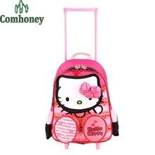 Olá Kitty Minnie Mouse Crianças Meninos Meninas Mala com Rodas Bagagem Saco de Escola para Alunos Criança Carrinho de Bagagem para Crianças(China (Mainland))