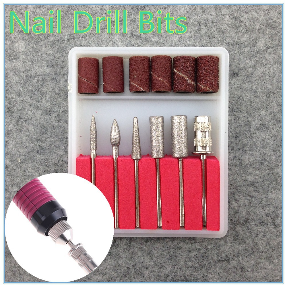 WUF 6PCS Drill Bits And Sanding Band For Nail Drill Replacement Set Nail Electric File Metal Bits Kit