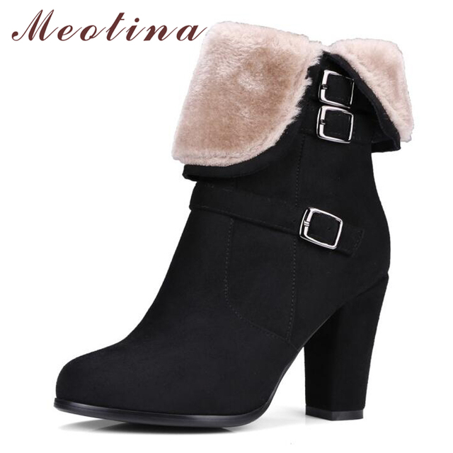 Meotina Winter Ankle Boots for Women Fur Buckle High Heels Boots Zip Luxury Block Heel Female Shoes Gray Black Big Size 34-43