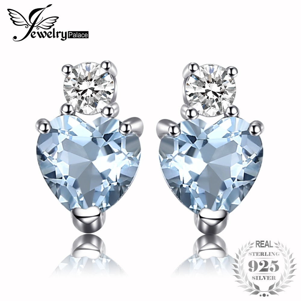 JewelryPalace Heart Love Natural Aquamarine White Topaz Post Stud Earrings For Women 925 Sterling Silver Brand Jewelry 2018