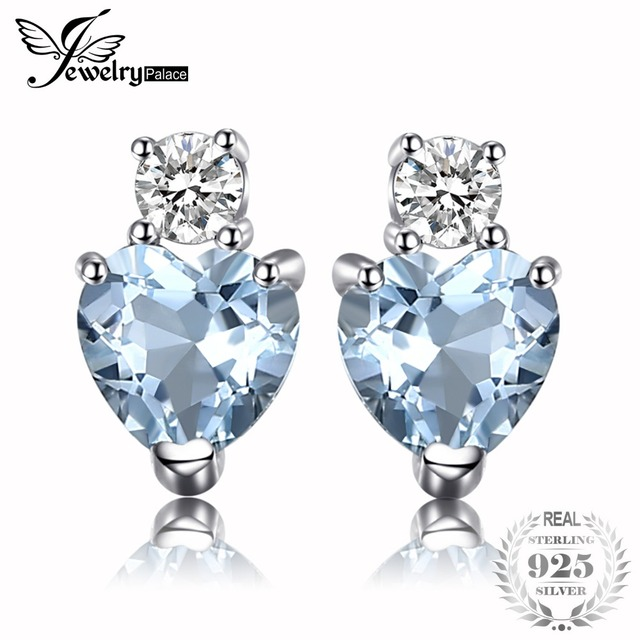 JewelryPalace Heart Love Natural Aquamarine White Topaz Post Stud Earrings For W