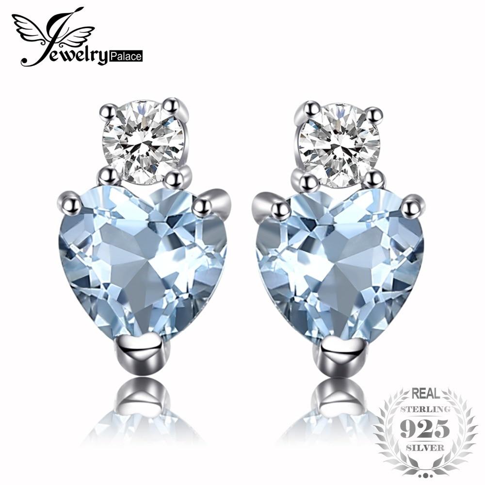 8a639cc37ab6 JewelryPalace corazón amor 1ct Natural Aquamarine Topacio blanco pendientes  de perno prisionero para las mujeres 925