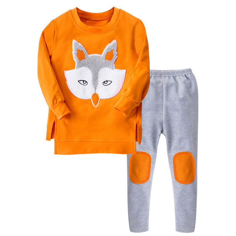2017 Fashion Autumn Boutique Outfits Kid Girl Clothes Sets Cute Fox Pattern Long Sleeve Tops Tutu Tracksuit Clothes For Girls