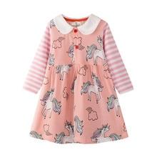 все цены на New Fashion 2019 Baby Girls Tutu Dresses Long Sleeve Princess Unicorns Kids Girls Dresses Spring Autumn Children Clothing онлайн