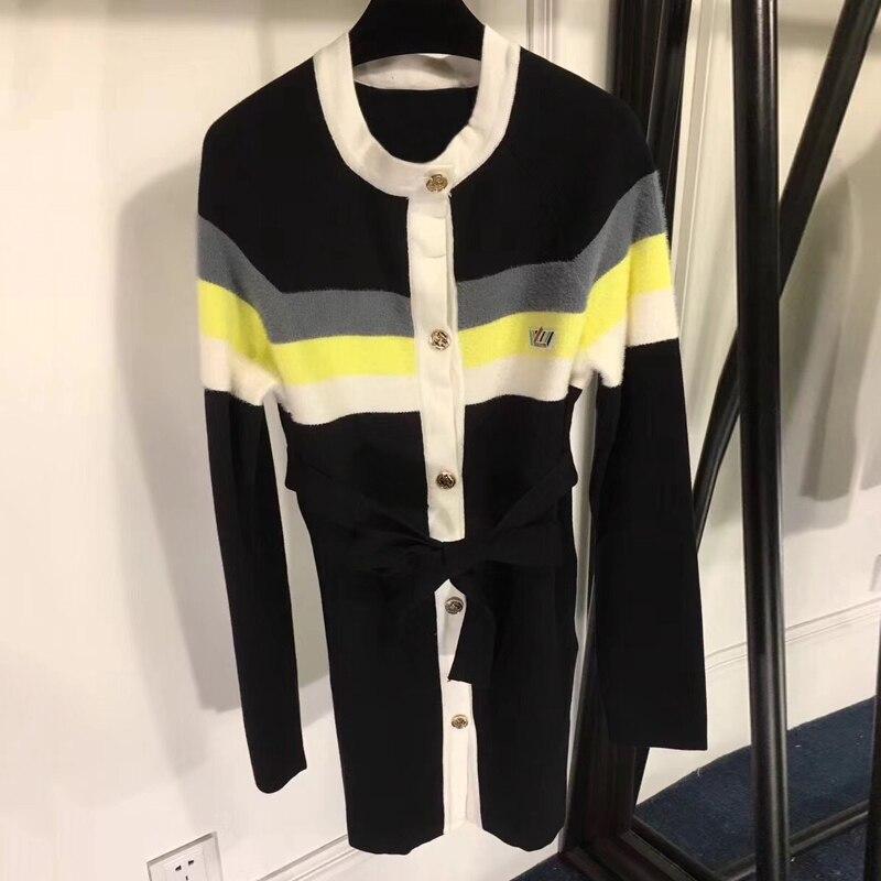 Длинный свитер кардиган Для женщин осень o образным вырезом Леди с длинным рукавом Однобортный свитер кардиган 2018 модные женские туфли кард