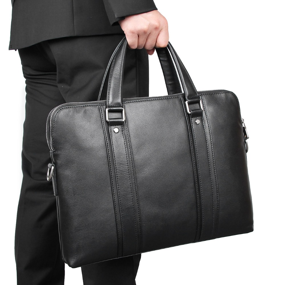 Nesitu Hoge Kwaliteit Blauw Zwarte Koffie Lederen 14 ''Laptop Mannen Aktentas Messenger Bags Kantoor Portfolio M7325-in Aktetassen van Bagage & Tassen op  Groep 1