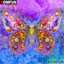 HOMFUN 5D DIY Diamond Painting Full Square/Round Drill Color butterfly 3D Embroidery Cross Stitch gift Home Decor A00382