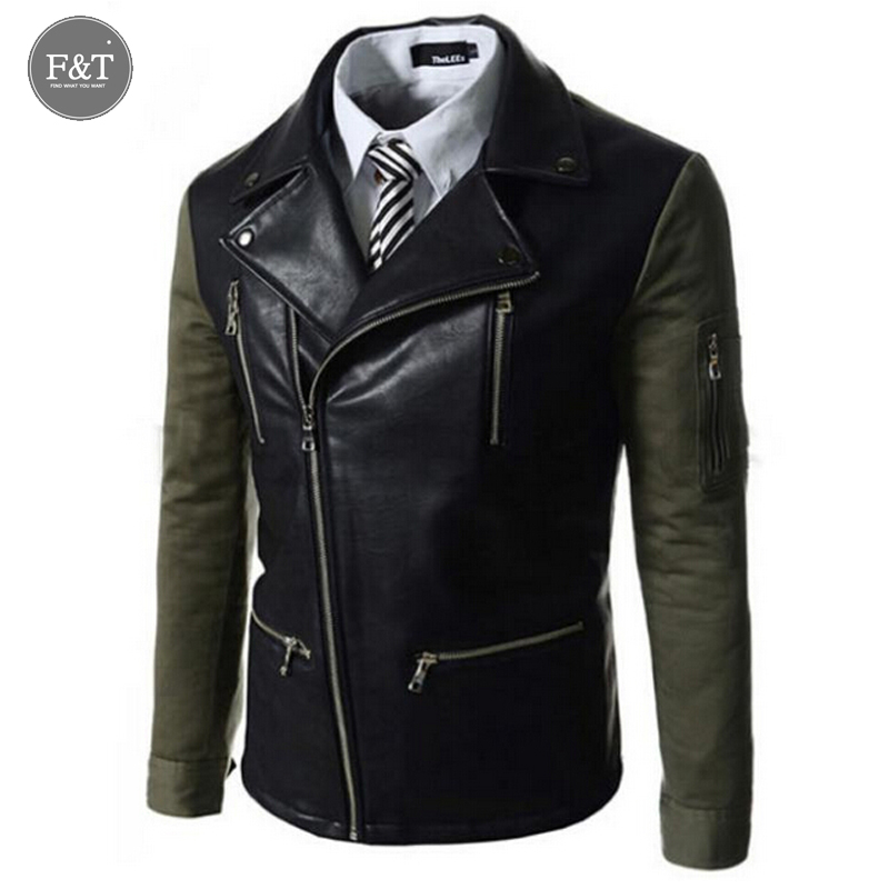[Asian Size]  Men fashion motorcycle jaqueta de couro masculina mixed colors Slim Korean men multi zip lapel leather jacket coat