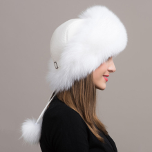 Winter Luxury Women Fox Fur Hats Female Genuine Leather Top Bomber Hats Large Fur Warm Caps Many Colors