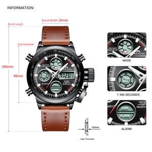 Image 4 - MEGALITH שעון גברים צבאי ספורט עמיד למים שעוני יד LED הדיגיטלי משולב שעון זכר שעון חום אמיתי עור שעון
