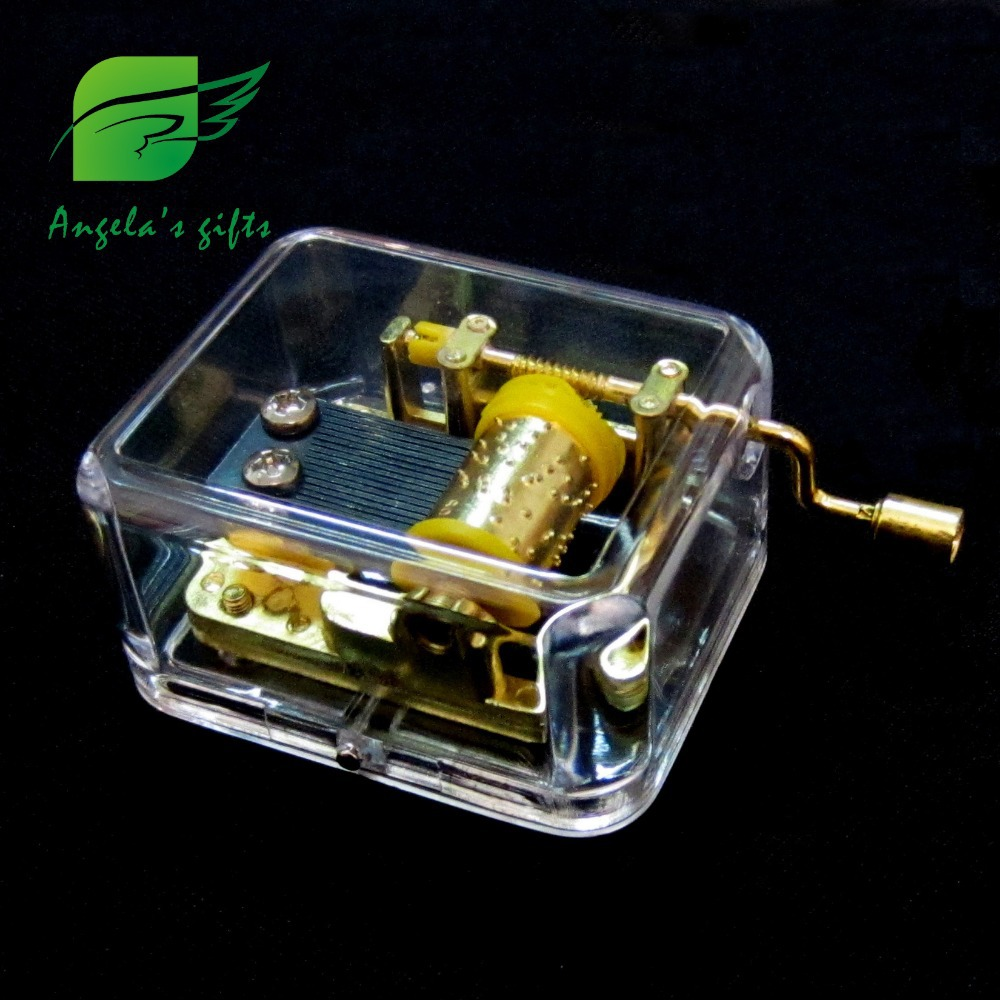 Clear Box Music Box Fur Elise Hand Crank Music Gifts For Girls