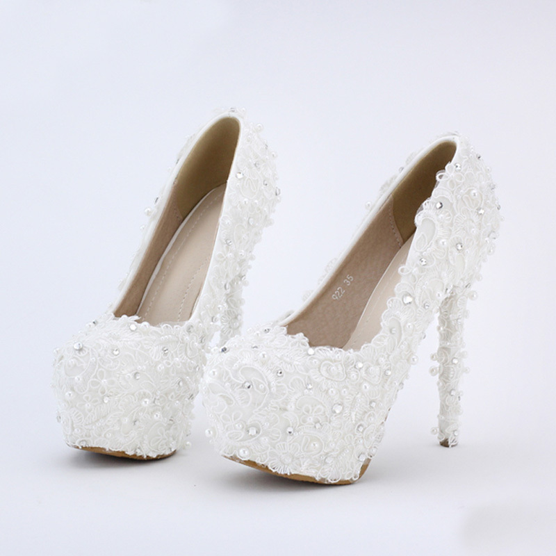 14cm High Heels White Lace PumpsEvenign Prom Bridal Dress Shoes  Platform Bridesmaid Shoes Fashionable Bride Shoes Free Shipping new arrival white wedding shoes pearl lace bridal bridesmaid shoes high heels shoes dance shoes women pumps free shipping party