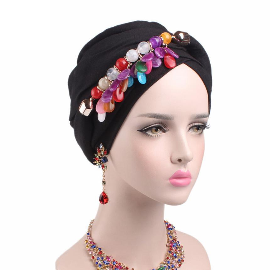 где купить Women New Elastic Cap Turban Muslim Boho Scarf Cancer Chemo Hat Beanie Scarf Turban Head Wrap Cap breathable mesh turban по лучшей цене