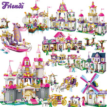 Girls Princess Castle School Carriage Ship Building Blocks Friends Girls Brick Figures Toys for Children Gift все цены
