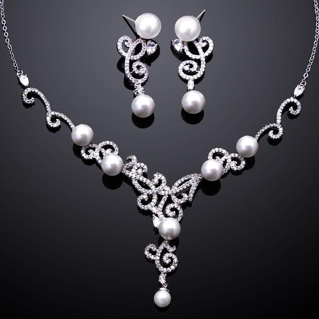 Latest Tread AAA Cubic Zirconia Pearl Necklace Earrings Sets ...