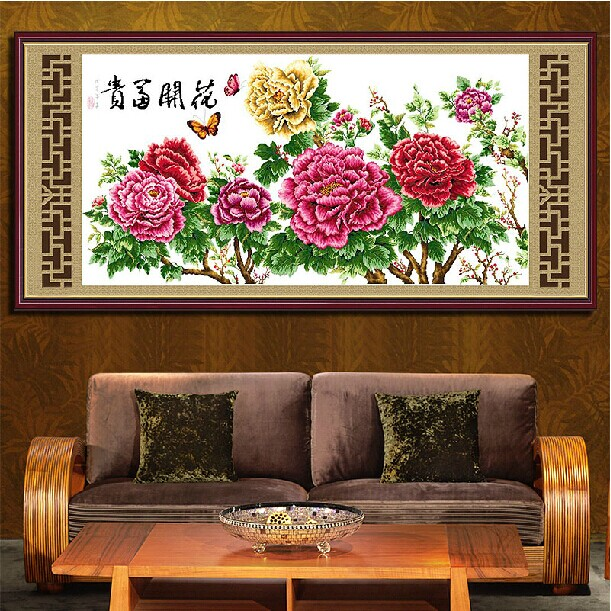 Cross-stitch Arts,crafts & Sewing Loyal Embroidery Package High Quality Cross Stitch Kits Unopen Luxurious Wealthy Peony Flower Big Size:130cmx75cm Free Shipping Refreshing And Beneficial To The Eyes