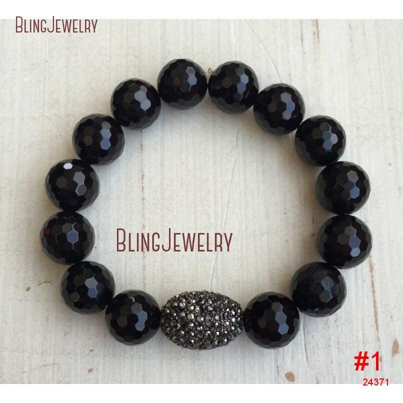 Ограненный черный оникс серого цвета со стразами Оз со стразами овальный браслет BM19973 - Окраска металла: BM24371