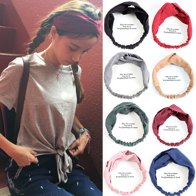 LNRRABC Multicolor Women Headband Solid Color Yoga Elastic Turban Twisted Knotted Women Headwear Hair Accessories