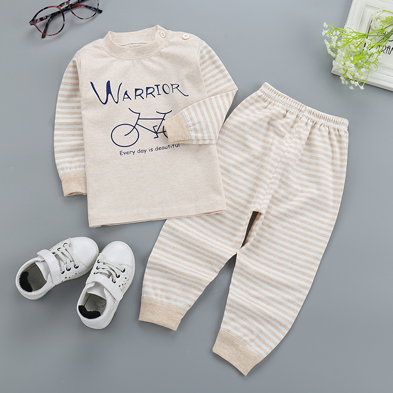 Free shipping pullover stripe Baby Boys Girls Clothes Cotton Babys Sets G2440-2705