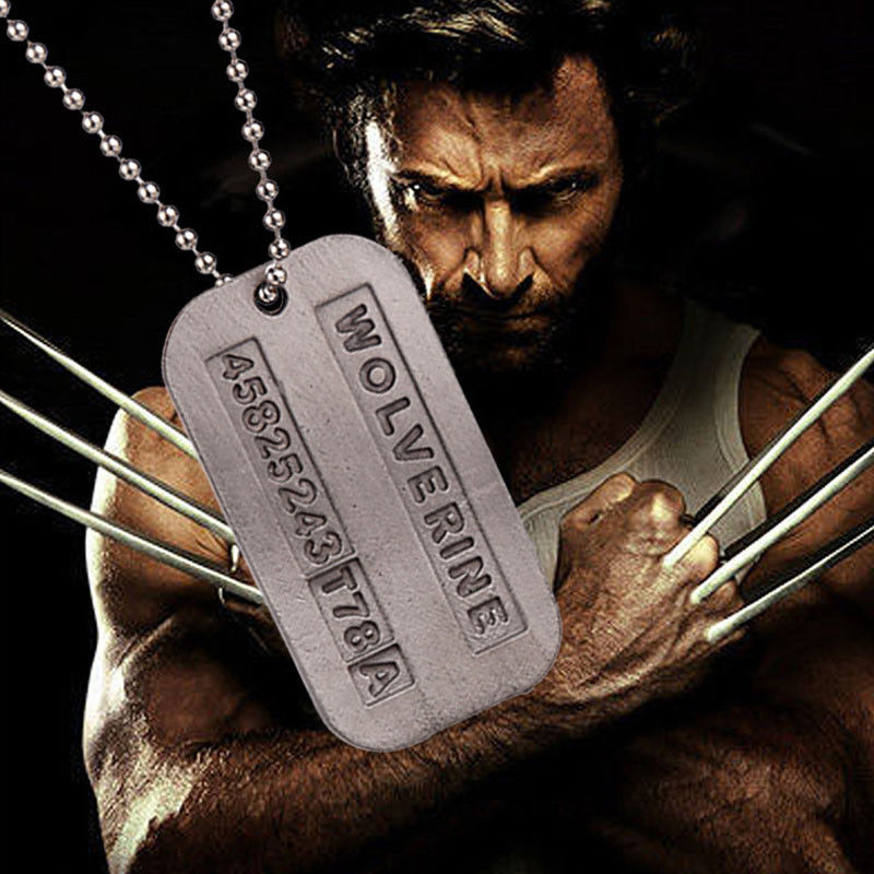 free shipping movie x men origins wolverines dog tag id necklace zinc alloy marvel x men jame. Black Bedroom Furniture Sets. Home Design Ideas
