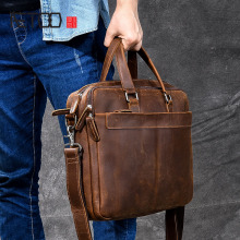 AETOO Mens Leather Briefcase Retro Crazy Horseskin Crossbody Bags Laptop
