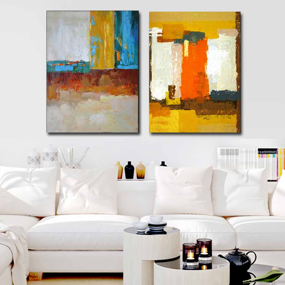 Modern Abstract Art Handmade Double Panels Color Canvas Oil Painting ...