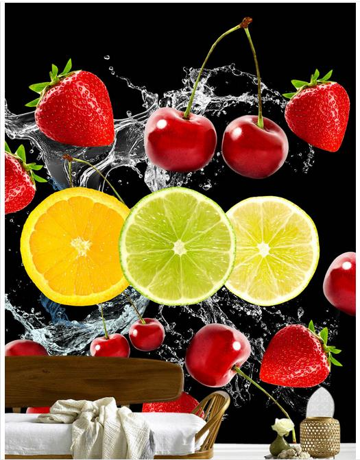 Us 1179 55 Offhigh Quality Hot Sale New Custom 3d Murals Wallpaper Only Beautiful And Fresh Hd Spray Cherry Fruit Strawberry Fruit Wall Decor In