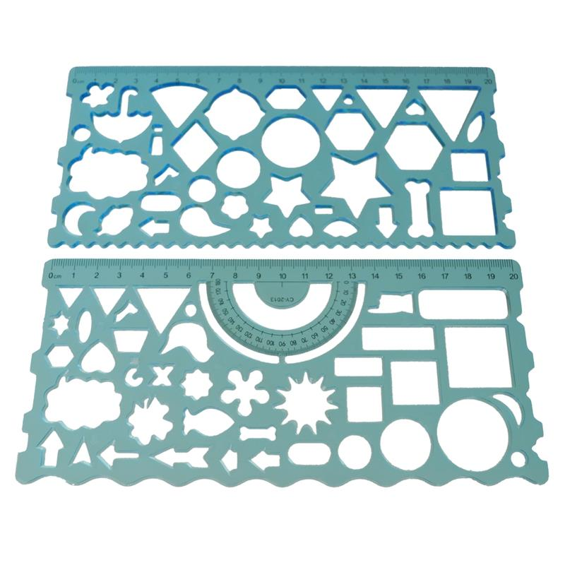 2 Pcs Color:green;orange;red;blue(sendrandomly) Plastic Hollow Students Geometric Template Student Ruler Set