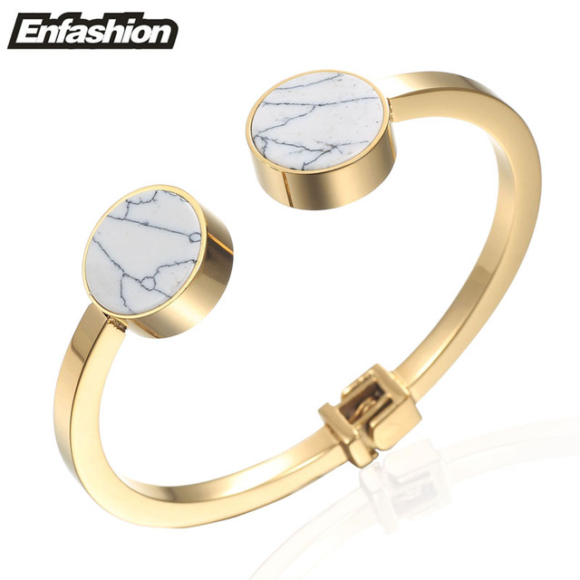 Enfashion Double Round White Turquoise Cuff Bracelet Bangle Noeud armband Gold Plated Bracelets For Women Bracelets Bangles