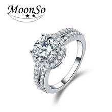 Real 925 Sterling Silver Halo Ring for Women Simulated Diamond Wedding Engagement Wholesale Fashion Finger Rings Jewelry LR211A