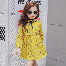 2019 Spring Autumn Baby Girl Long Sleeve Dress Yellow Casual Dandelion Pattern Fashion Child kids dresses for girls