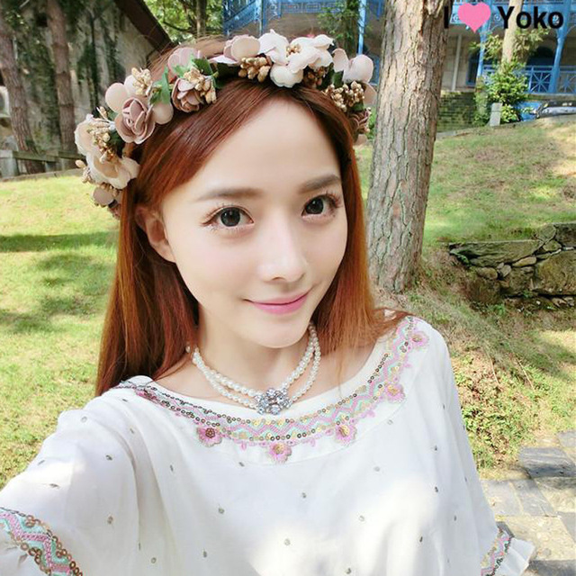 Beauty Women Bride Flowers Headbands Bohemian Style Rose Flower Crown Hairband S Beach Hair Accessories