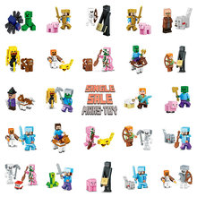 Single Sale HOT Minecrafted Action Figures Toys Steve Zombie Alex Witch Zombie Skeleton Compatible LegoINGlys Blocks 8IN1