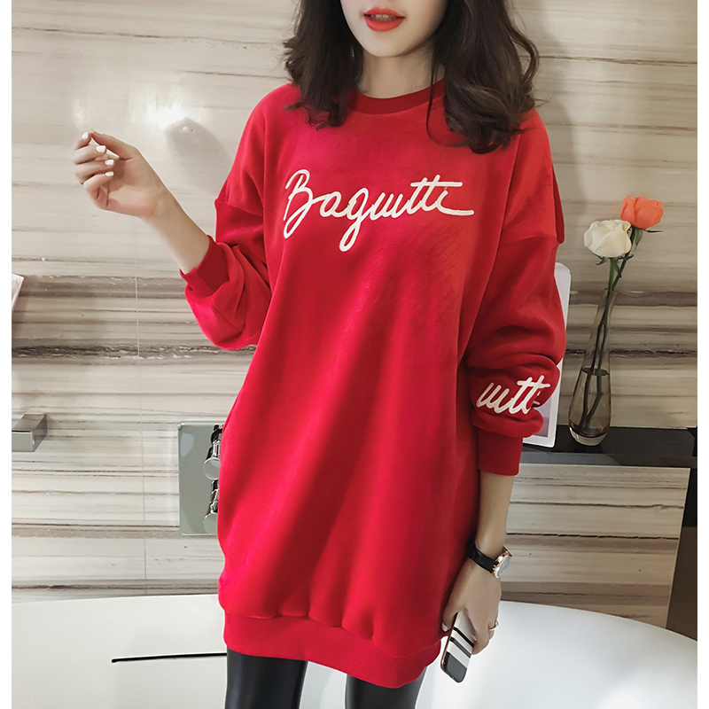 2017 Autumn And Winter Keep Warm Women Shirts Loose Plus Size T shirts Letter O neck Long Tops