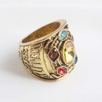 RJ Hot Sale Gold Thanos Rings Infinite Power Gauntlet Crystal Ring Avengers 3 Infinity War Cosplay Anillo Women Men Keyring Gift 4