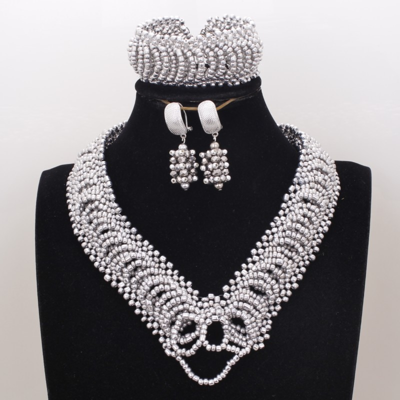 4UJewelry Heart African Jewellery Necklace Silver Crystal Beads Dubai jewelry Set For Nigerian Wedding Free Shipping 2019 3Pcs4UJewelry Heart African Jewellery Necklace Silver Crystal Beads Dubai jewelry Set For Nigerian Wedding Free Shipping 2019 3Pcs
