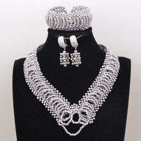 4UJewelry Heart African Jewellery Necklace Silver Crystal Beads Dubai jewelry Set For Nigerian Wedding Free Shipping 2019 3Pcs