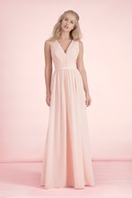 Cheap Simple Sleeveless V Neckline Light Pink Party Dress For Wedding Long Chiffon Bridesmaid Dress Custom Made