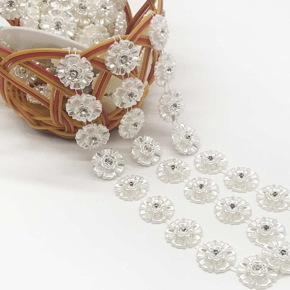 SINUAN jednoredni lanac od nogu od stakla, biser ABS biser bijela - Umjetnost, obrt i šivanje - Foto 5