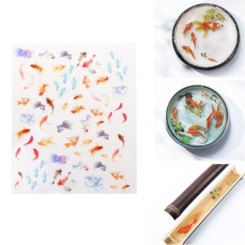 Прозрачная пленка с 3D золотыми рыбками, резиновые наклейки «сделай сам», водная роспись, изготовление ювелирных изделий
