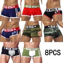 Cueca boxer masculina, nova 4 8 peças de cueca camuflada sexy para homens boxers