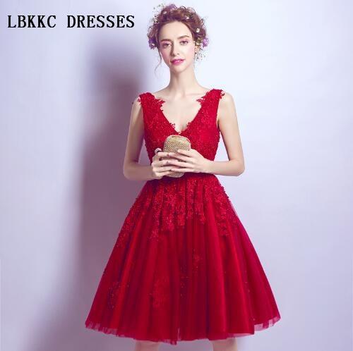 Robe De Soiree Court Red   Evening     Dresses   Short Vestido De Festa Party Prom Gown