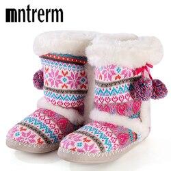 Mntrerm chinelos de inverno feminino cor doce bonito bola casa chinelo macio quente chinelos de pelúcia chinelos de algodão interior para mulher sapatos