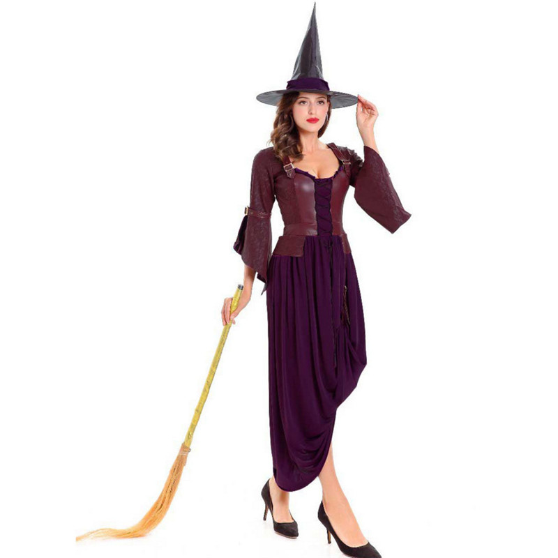 2018new luxury coffee Pu witch Costume Halloween host theatrical performances female magician Cosplay dress photography clothing