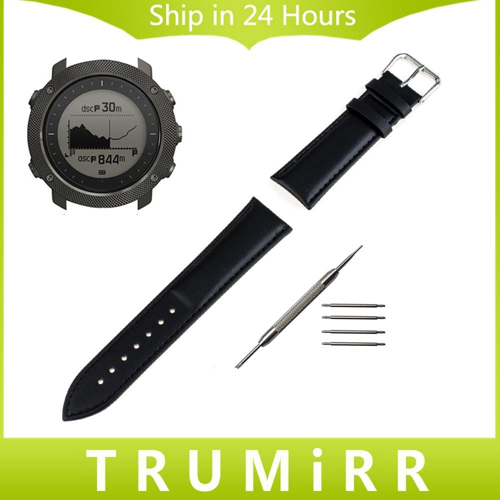 24mm Calf Genuine Leather Watchband Full Grain for Suunto TRAVERSE Watch Band Replacement Strap Wrist Belt Bracelet Black Brown спортивные часы suunto traverse graphite ss022226000