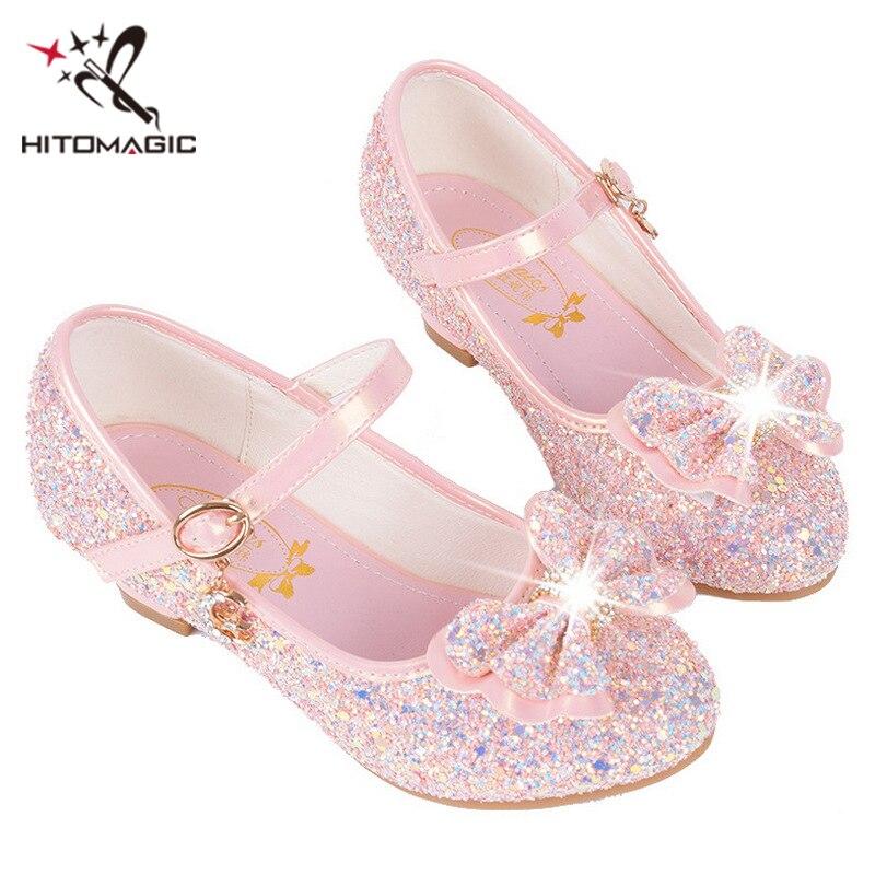 HITOMAGIC Girls Sandals Summer Kids Shoes 2018 Girls Princess Shoes With  High Heels Pink Leather Rhinestone b0b7f5a0c92e