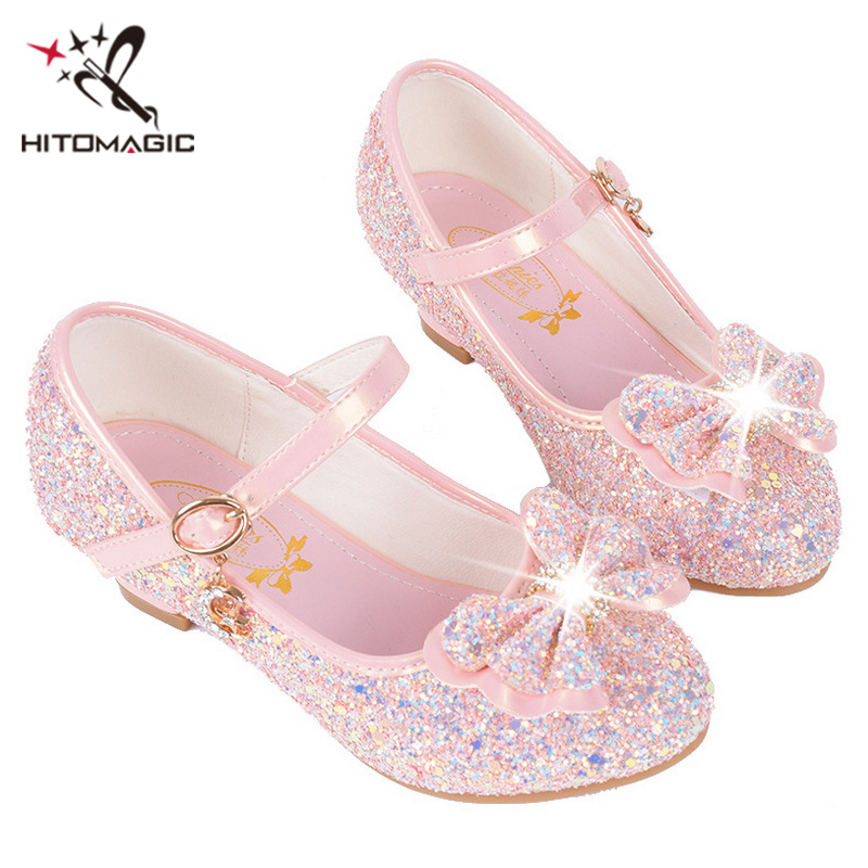 HITOMAGIC Girls Sandals Summer Kids Shoes 2018 Girls Princess Shoes With High Heels Pink Leather Rhinestone For Dance Wedding kids glitter sandals elegant princess dance wedding dance party leather shoes heel student