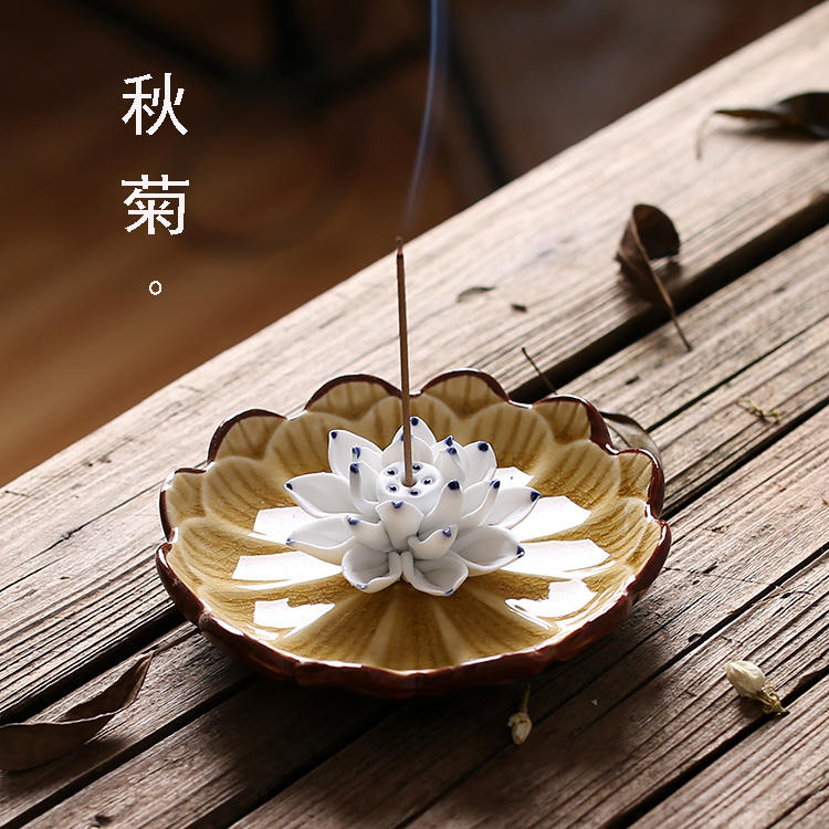Jingdezhen Ceramics Lotus Incense Burner Holder Joss Stick Incense Censer Household Aroma Sticks Disc Aromatherapy Decoration